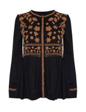 Stella Forest Bulgarie Black Embroidered Blouse
